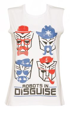 Ladies Transformers Retro Robots in Disguise Sleeveless T-Shirt
