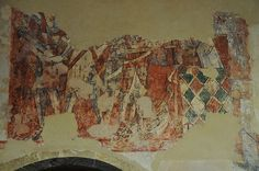 South Newington St Peter Ad Vincula church wall paintings on north wall martyrdom of St Thomas a Becket c1330 -18-21