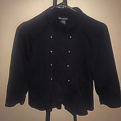 Black blazer All black with sailor buttons on the front have a small train on the back . Very adorable Jackets & Coats Blazers