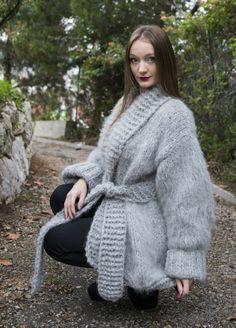 Luxury Gray  Hand Knitted Longhair Mohair Coat Cardigan by LanaKnittings #Handmade #BasicCoat