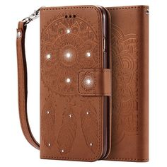 FLOVEME Campanula Drilling Embossed Wallet Cases For iPhone 6 6s 4.7 With Card Slot Magnet Coque Diamond Bling Flip Holster Bags