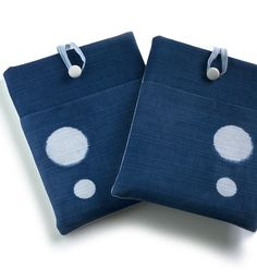 Natural indigo hand dyed iPad cover sleeve; computer accessories. Minimalist designed tablet case by Little m Blue.