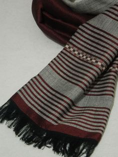 Men's fashionable silver grey and burgundy solid and striped combination scarf made of 100% handwoven Ethiopian cotton by Ethiostylenet