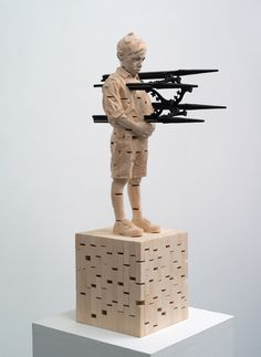 Gehard Demetz, Tell Daddy Why You Are Crazy, 2012 , lime wood and acrylic paint 19 1/2 x 7 1/8 inches