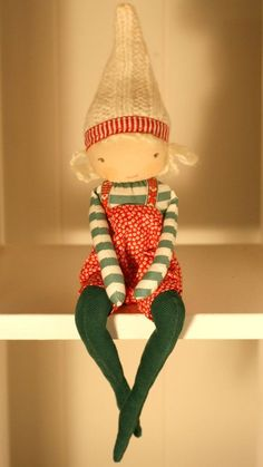 """STELLAN,  from the Wondrous World of the MiaLa shelf elf Holiday collection 2013.  Nordic  12"""" stuffed softie boy doll. Blonde."""