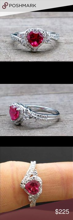 ❗️SALE ❗️Solid 925 SS 1.00ctw Ruby & Topaz ring Stunning!!! Solid 925 Sterling Silver Heart ring with 1.00ctw Ruby & white topaz 3g size 8 925 Jewelry Rings