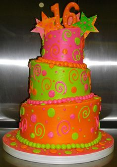 NEON TOPSY TURVEY CAKE, via Flickr. I like this one Jason Kim Raby!!! It's bright and well...just cool!!!