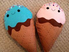 Custom made ice cream cone plush cushions