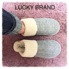 ⚡️FLASH SALE Lucky Brand Slip On Sherpa Shoe Gray Slip into comfy, cozy warmth in these darling Lucky Brand Shoes. Faux Sherpa lining throughout and gray sweater-like upper. Flat rubber bottom sole. NWOT display shoes. Listing is for Size 7. Size 8 also available in another listing in my closet  Lucky Brand Shoes Flats & Loafers