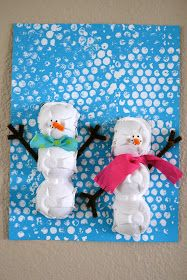 Real Life, One Day at a Time: egg carton snowman art