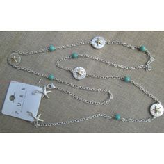 """Long Silver 36"""" Chain Layer Necklace Starfish Accent Medallions Turquoise Earring Beach Jewelry Set"""