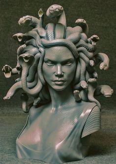 Medusa Art, Medusa Gorgon, Ancient Greek Sculpture, Greek Statues, Angel Statues, Kritzelei Tattoo, Tattoo Thigh, Art Sketches, Art Drawings