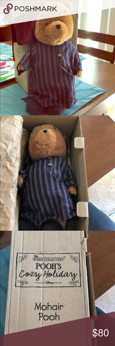 Disney Boyds Bears Mohair Winnie the Pooh Rare Cozy Holiday Christmas Pooh Nightgown Mohair Boyds Bear collection with Box.  Purchased at Disneyland. Original Boyds tag is missing but tissue paper and box included. Rare LE. Disney Other