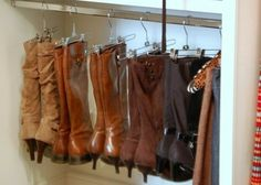 WOW brilliant! Use Pant Hangers to Organize Your Boots - Top 58 Most Creative Home-Organizing Ideas and DIY Projects