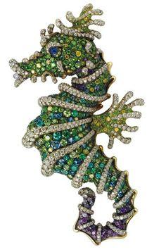 Fabergé Diamond, demantoid, alexandrite, paraiba, tzavorite and sapphire brooch. Faberge Eier, Antique Jewelry, Vintage Jewelry, Silver Jewelry, Faberge Jewelry, Animal Jewelry, Horse Jewelry, Vintage Brooches, Costume Jewelry
