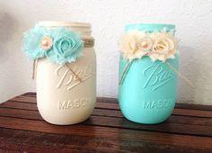 Set of 2 Decorated Mason jar seafoam cream by PerFecteauDecor, $18.95