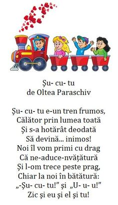 Doamna Fagilor: Trenuleţul Şu- cu- tu strigă tare: U- u- u! Little Pigs, Kindergarten Activities, Nursery Rhymes, Comprehension, Transportation, Language, Songs, School, Kids