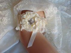 452858c49 Items similar to Chantilly Lace and Satin Wedding Garter Set