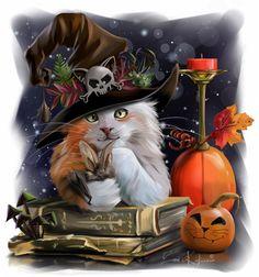 Diamond Painting Witch Hat Cat and Bat Kit Halloween Artwork, Halloween Pictures, Halloween Wallpaper, Halloween Cat, Vintage Halloween, Witch Art, Cat Wallpaper, Cat Drawing, Cat Art