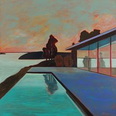 """Melissa Chandon Painting - """"Modern House with Tree Reflection"""" Contemporary Artists, Modern Art, Mid Century Modern Living Room, Palm Springs, Art Art, Swimming Pools, Art Drawings, Reflection, Mixed Media"""