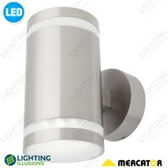 2 Light Up/Down Carrara 5W LED Exterior 316 Stainless Steel Wall Light IP44 - Shop - Lighting Illusions Online