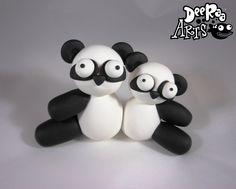 Conjoined Pandas by Dee Raa Arts polymer clay cute kawaii sculpey fimo panda bamboo https://www.facebook.com/DeeRaaArts