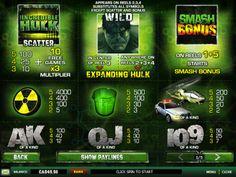 Questa slot è una slot a 5 rulli che sta scoppiando con #hulk come simboli e animazioni. Il gioco ha fino a 25 linee di scommessa per giocare on e viene fornito con simboli wild animati più un #bonus esplosivo dove si arriva a scatenare la tua rabbia verde di vincere premi.