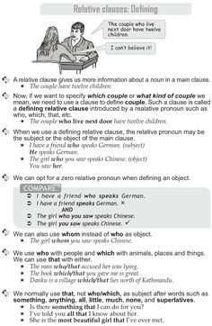 Grade 10 Grammar Lesson 30 Relative clauses: Defining