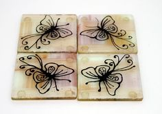 Fused Glass Coasters  set of 4Butterfly Silhouette by virtulyglass, $32.50