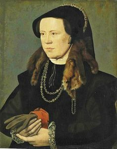 1545-55 William Scrots (fl 1537-1554) Lady in Black with fur ziblellino with gloves with a gauntlet style cuff