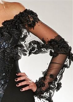 An Evening Out | Love this off the shoulder sheer and lace detailed evening gown!