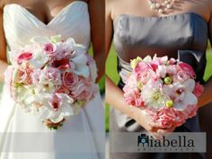 Bride & Bridesmaid Bouquets :  wedding pink white ivory silver bridesmaids bouquet inspiration ceremony flowers reception Bouquets