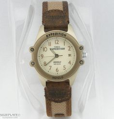 Womens Timex Expedition Indiglo Watch Brown Leather & Fabric Band