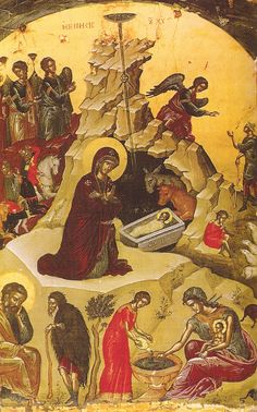 An icon of the Nativity of Christ from Stavronikita Monastery on Mount Athos by the famed iconographer Theopanes the Cretan.