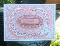 made by Jane Middleton using Spellbinders Nestabilities Card Creator: 5x7 Elegant Labels Four the sentiment and stamped ovals are justrite enjoy the day vintage labels four  and the fancy lace oval die is by crafters companion from the Downton Abbey collection.