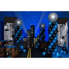 """All Around the Town Pathway and Stars KitGo all around the town and follow the stars to fulfill your dreams with this fun All Around the Town Pathway and Stars Kit. It's the perfect way to add a finishing touch to your Prom theme, Homecoming theme, Senior Party or any school event. The black paper and yellow crepe path measures up to 40' long. Stars measure 2 1/2"""" and 5"""" high. Assembly: 1 hour, 2 people.   $50"""