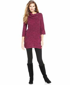 Style&co. Petite Sweater, Three-Quarter-Sleeve Ribbed-Knit Tunic