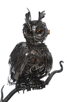 Wilhelm Eagle Owl Cutlery, Motorbike and bicycle parts. Mounted on a 5ft solid oak plinth. 53cm top to tail http://www.alanwilliamsmetalartist.com/