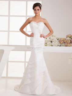 Strapless Mermaid Taffeta Wedding Gown with Delicate Beading and Pleats