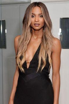 Ciara's Beachy balayage looks effortless on long, wavy hair.
