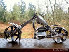 Motorcycle Spoon Art Custom Chopper by EverlastingSpoonful on Etsy, $1299.99