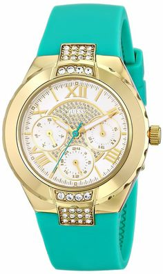 GUESS Women's U0327L3 Green Silicone Multi-Function Watch with Gold-Tone Case