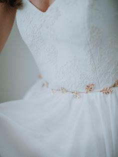 Gold Leaf Bridal Sash Golden Vine Wedding Sash by DavieandChiyo