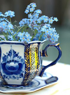 Russian teacup with Forget-Me-Nots