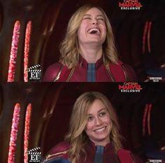 She laughs. She smiles. So emotional. Marvel Comics, Marvel Avengers, Ms Marvel, Marvel Universe, Defenders Marvel, Captain Marvel Carol Danvers, Hottest Female Celebrities, Brie Larson, Queen