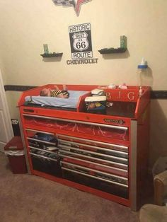 Cute nursery idea for a mechanic's new addition to the family:) Boy Nursery Cars, Truck Nursery, Baby Boy Rooms, Nursery Themes, Car Themed Nursery, Nursery Room, Kids Rooms, Nursery Ideas, Western Baby Nurseries