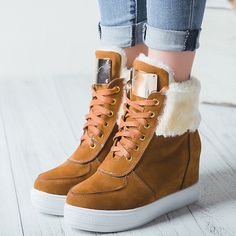 Shoespie Round Toe Lace Up Hidden Elevator Heel Snow Boots