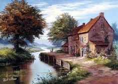 Reint Withaar, Artistic Paintings, oil painting landscape paintings, landscape … – Fulya Karlav – Join the world of pin Watercolor Landscape, Landscape Art, Landscape Paintings, Watercolor Paintings, Pour Painting, Diy Painting, Belle Image Nature, Thomas Kinkade, Pictures To Paint