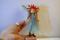 ooak poseable THREAD PIXIE FAIRY w/ acorn hat ( #8 ) pixie elf polymer clay art doll by DinkyDarlings by DinkyDarlings on Etsy
