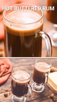 A classic Hot Buttered Rum is the perfect drink to warm up with this winter. A quick and easy warm cocktail that starts with a batter you can make ahead of time or make a large batch for a party. Then mix it with warm water and you'll be sipping[. Sangria Recipes With Rum, Rum Punch Recipes, Rum Cocktail Recipes, Rum Recipes, Alcohol Drink Recipes, Coctails Recipes, Shot Recipes, Margarita Recipes, Winter Cocktails